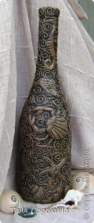 Декор предметов Аппликация из скрученных жгутиков Имитация дерева Пейп-арт Бутылки стеклянные Салфетки фото 6