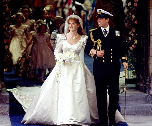 The wedding of HRH The Prince Andrew to Sarah Ferguson (The Duke and Duchess of York). July 1986. #royalty