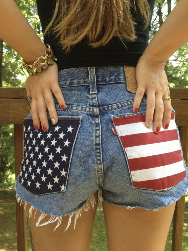 DIY American Flag Cutoffs | 10 Ways to DIY Your Fourth of July Outfit | http://www.hercampus.com/style/10-ways-diy-your-fourth-july-outfit