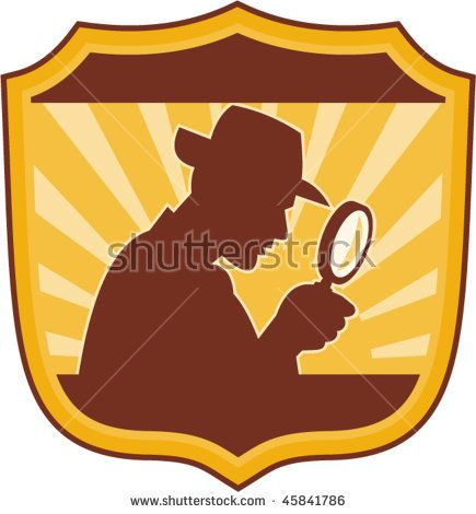 vector illustration of a male detective inspector with magnifying glass set inside a shield  #detective #silhouette #illustration