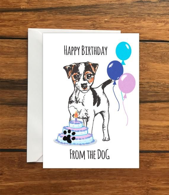 Happy Birthday From The Dog Jack Russell Terrier Greeting Etsy Happy Birthday Dog Penguin Greeting Cards Happy Birthday
