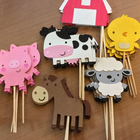 12 Farm Animals cupcake toppers, Farm/Farm Theme Party                                                                                                                                                                                 Mais