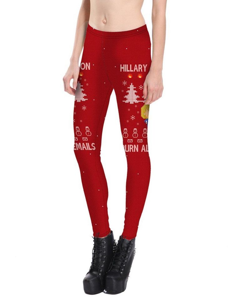 Clinton Hillary Burn All Mails Print Red Christmas Tights Leggings