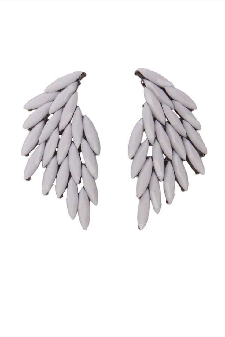 Mezi - Irana Stone Feather Statement Earrings