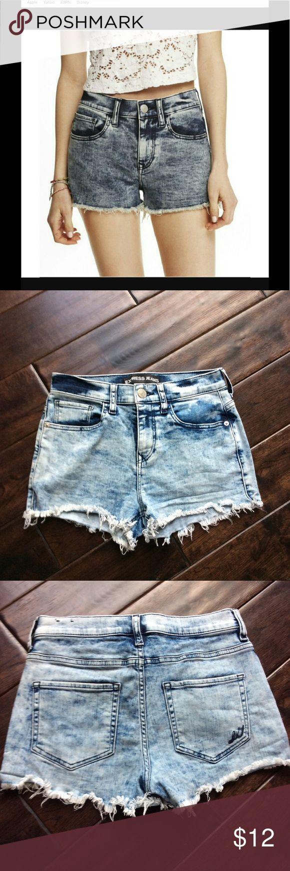 Express high waisted acid wash shorts. Perfect for summer.  Express acid wash shorts in size 2. Express Shorts