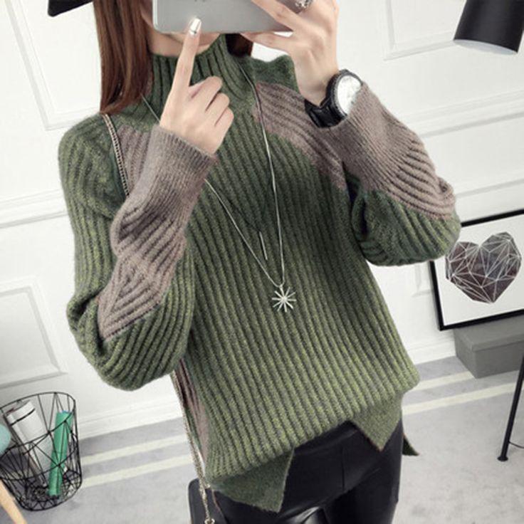 Осенний и зимний свитер женщин короткий параграф устанавливает яркий шелковый корейский рыхлый утолщенный полу-высокий воротник толстой шерсти студентов вязать рубашку - Tmall.com Lynx