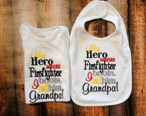 Personalized Body Suit or Shirt and Bib Set with the saying My Hero Wears Firefighter Boots I call Him Grandpa.