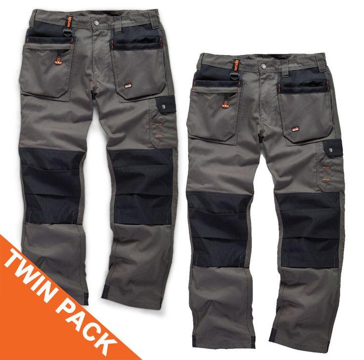 Scruffs WORKER PLUS TWIN PACK Graphite Grey Work Trousers Trade Hardwearing