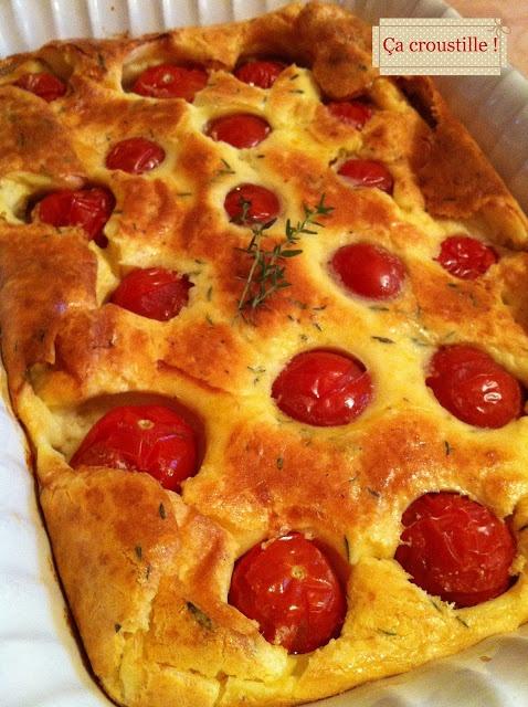 Ça croustille ! Calfoutis tomates cerises et parmesan