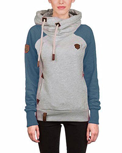 Auxo Women Casual Long Sleeve Funnel Neck Hoodie Pullover Drawstring Sweatshirt Blue US 12ASIAN XL >>> Click image for more details.