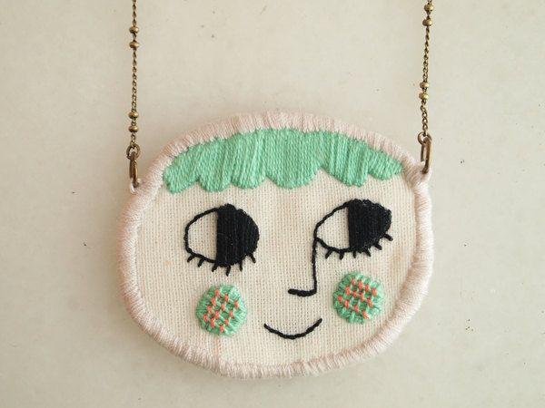 embroidered necklace by Lana Pelana