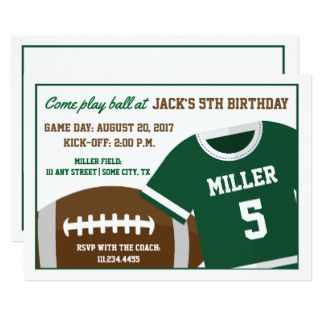 Football Themed Birthday Invite. Click through to find matching games, favors, thank you cards, inserts, decor, and more.  Or shop our 1000+ designs for all of life's journeys. Weddings, birthdays, new babies, anniversaries, and more. Only at Aesthetic Journeys