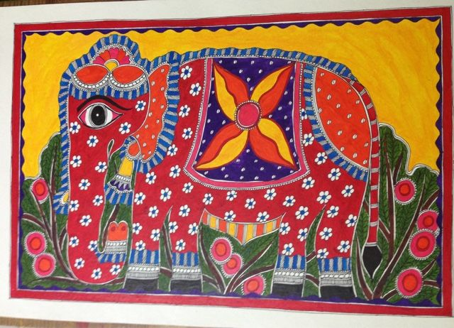 World Elephant Day 2015 Colourful Elephant in Madhubani style done by me sometime back dedicated to the preservation and protection of the world's elephants.
