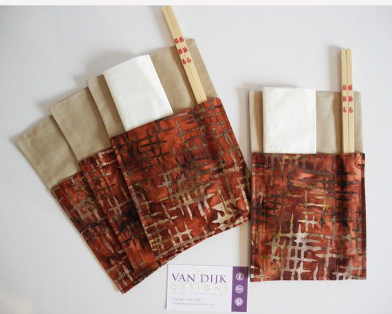 Set of 4 Chopstick Cutlery and Napkin Holders by VanDijkDesigns