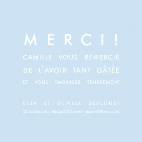 Carte de remerciement (thank you card) : Mini justifié - by Sibylle Derkenne pour http://www.fairepartnaissance.fr #naissance #remerciement #birth