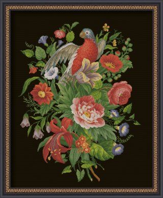 """""""Flower extravaganza"""" Cross-stitch chart. The design of the panel is based on the Victorian embroideries (Europe, 19 century). Designer: © Belikova Yana, 2015. Stitch count 261w x 341h., 68 colors, cotton embroidery floss DMC (no blend colors)."""
