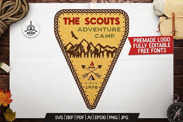 Scout Camp Logo Vintage Adventure Badge Patch Svg Sticker