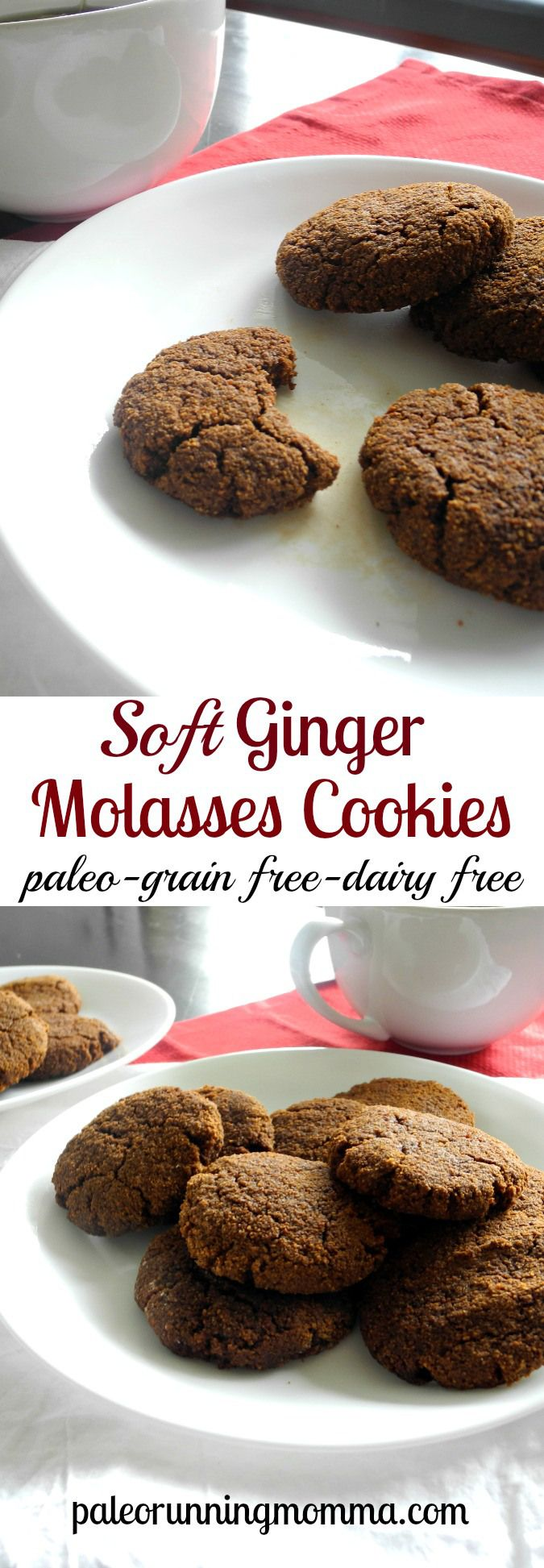 Soft Ginger Molasses Cookies - Grain free dairy free and paleo @paleorunmomma
