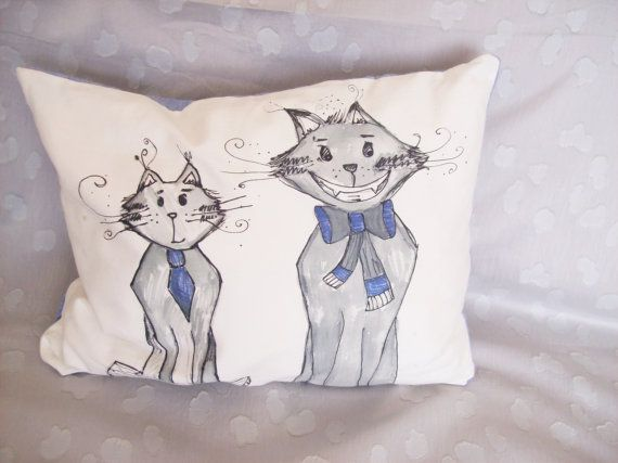 handmade hand painted decorative pillow by DragonflyShopDanica
