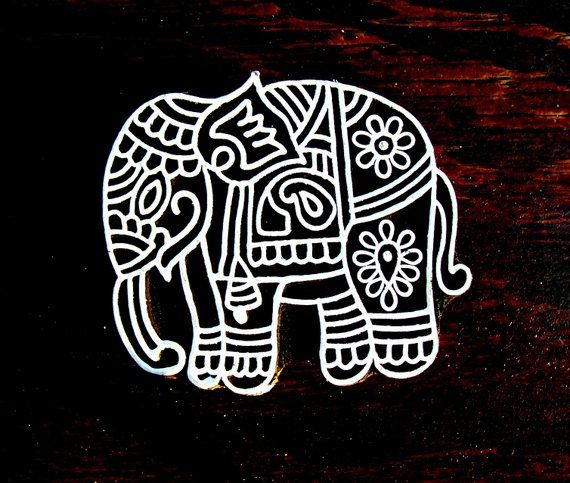 Elephant Hand Carved Wood Stamp Animal Indian Print Block (AN24)