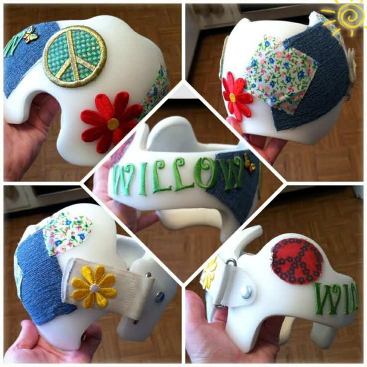 Willows hippie boho style doc band helmet i glued pieces of scrap fabric and cute
