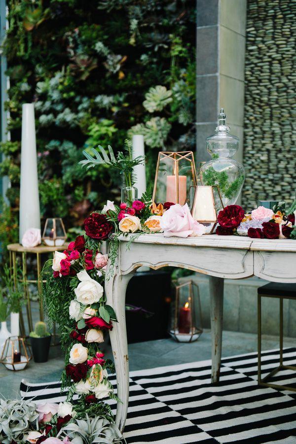 Floral Runner and Geometric Wedding Details   John Schnack Photography   http://heyweddinglady.com/succulents-sparkles-stripes-modern-socal-wedding/