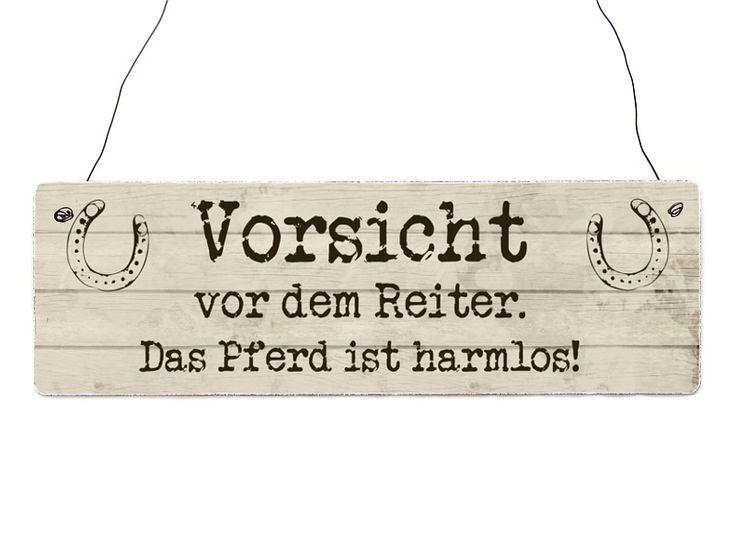 Holzschild Vintage VORSICHT REITER Spruch lustig von Interluxe via dawanda.com
