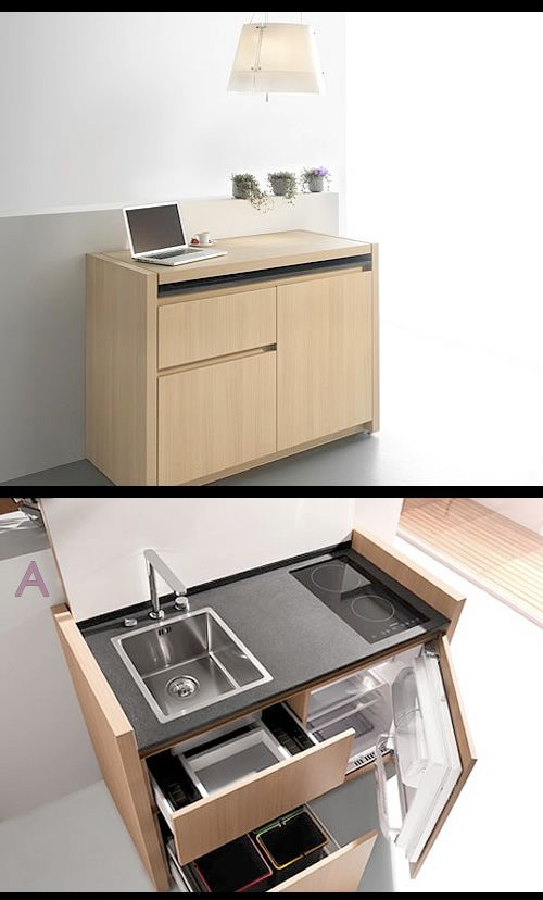 Mini Kitchen - compact and hyper-equipped, by Kitchoo    http://www.trendir.com/archives/005624.html