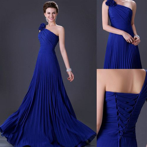 HOT One Shoulder Bridesmaid Ball Gown Wedding Party Cocktail Long Evening Dress | eBay