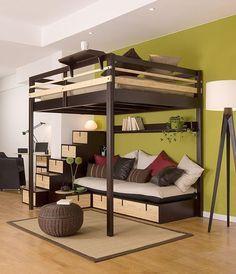 I want an adult loft bed. | contemporary double loft bed A COUPLE ESPACE LOGGIA