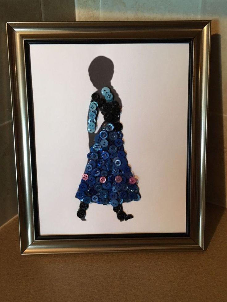 Disney Inspired Anna Silhouette Button Art In Frame. | eBay