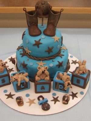 Top Baby Blocks Cakes Cowboy Baby Shower Baby Shower