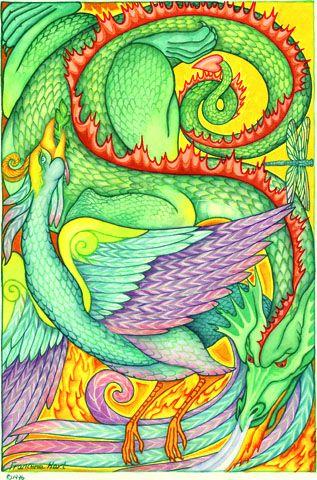 """""""Dragon y Phoenix"""" """"  Dragon es masculino y representa poderosos poderes transformadores. Phoenix es de sexo femenino y representa la resurrección, despertar y renacimiento. Juntos tejer otro tipo de Yin y Yang. equilibrio de las energías masculinas y femeninas."""