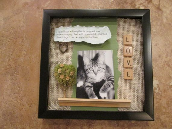 This is a custom shadow box to celebrate the love of your cat! The picture will be changed for the pet you are honoring. You will be required to