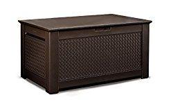 Rubbermaid 1859930 Outdoor Deck Box Storage Bench with Dark Teak Basket Weave Design