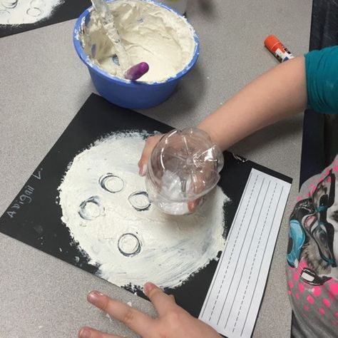 Craters on the Moon Art Project (from Mrs. Myers' Kindergarten)