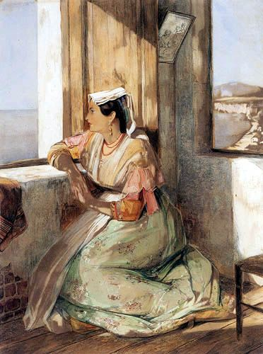 John Frederick Lewis A Lady gazing over the Bay of Naples-1837