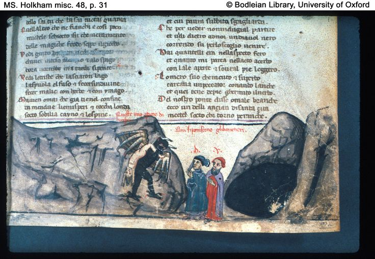 p. 31 (detail) Inferno, Canto XXI. Dante and Virgil observe a devil carrying the ancient of Lucca.