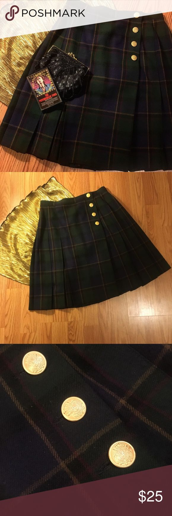 🐑Vintage Plaid Wool Skirt🐑 Adorable little wool skirt. Dark plaid in green, blue and burgundy. Gold coloured buttons. Soft and warm, with sweet pleating at front and back. Fall/winter staple! ((TAGS: vintage, retro, pinup, school girl, 50s, 60s, 70s, punk, new wave, Twin Peaks, Audrey Horne, tartan, Scottish, rockabilly, Hell Bunny, Stop Staring, Sourpuss, Voodoo Vixen, Urban Outfitters, American Apparel, Modcloth, Free People)) Urban Outfitters Skirts Mini