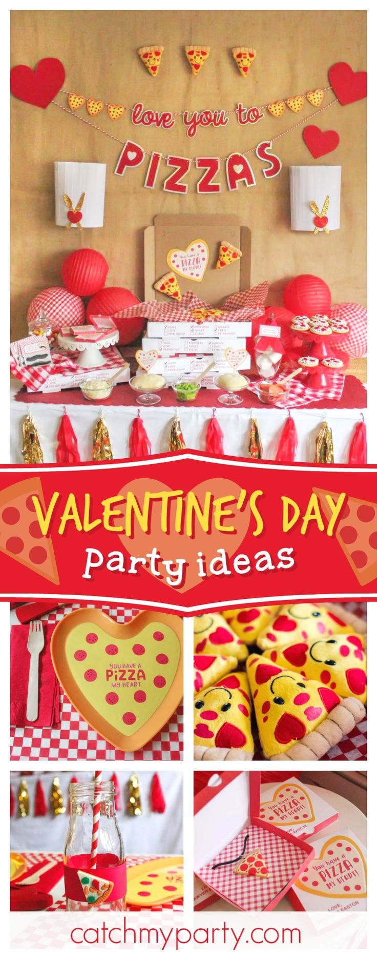 Tell someone you love them with a slice of pizza! Check out the cool dessert table at this pizza themed Valentine's Day party!! See more party ideas and share yours at CatchMyParty.com #partyideas #valentinesday #pizza
