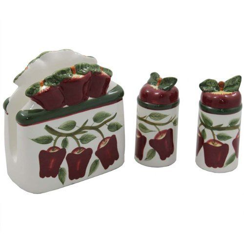 "Country Apple Collection Handcrafted Napkin and Salt & Pepper Shaker Set by ecWorld. $25.23. Fresh country influence design. Napkin Holder Dimensions: 6"" L x 3"" W x 5.5"" H - 1.4 lb. Fine glazed ceramic is hand wash only. Salt and Pepper Shaker Dimensions: 2"" L x 2"" W x 4.5"" H - 0.25 lb. Hand-painted by expert craftsmen. Bring a refreshing new look to your table and kitchen with this luscious looking Country Apple Collection. Crisp, bright red apples against a beautiful white ..."