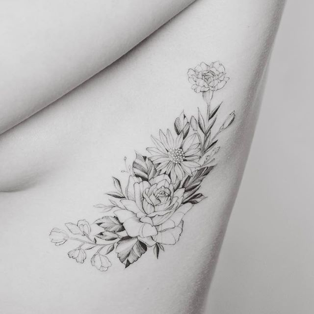 Sweet Peas Rose Daisy And Carnations Carnation Tattoo