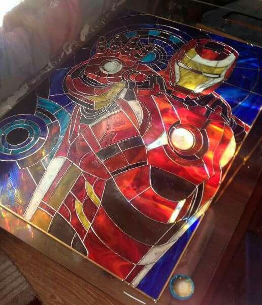 "Stained glass picture on wall ""Iron man"""