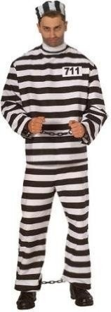 Private Island Party  - Prisoner Man Adult Costume 4085, $18.99    Prisoner Costume includes the Shirt, Pants and Hat. One Standard Size Fits Most. Shackles 1612 and Ball and Chain 1613 not included.