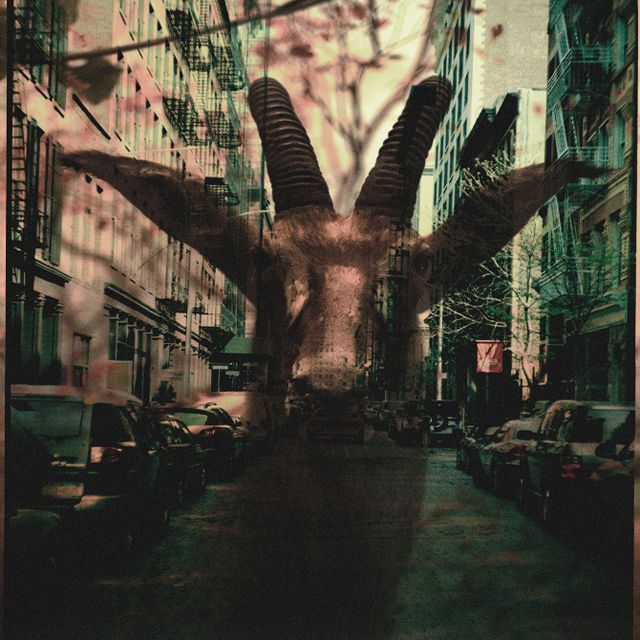 Charles Bergquist's double exposure photographs. The goat is in town.