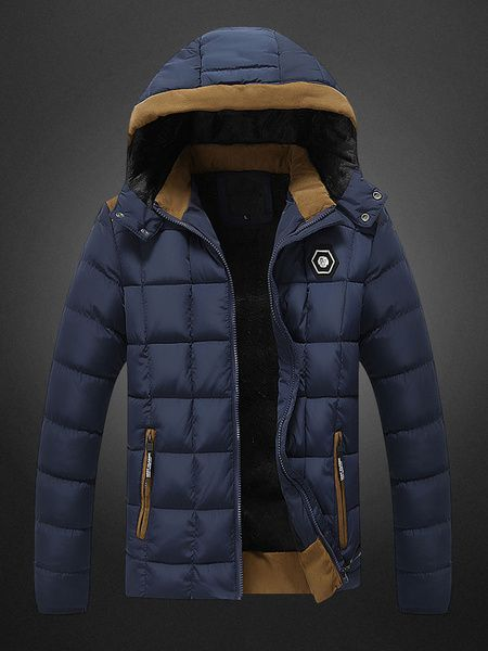 Parka Jacket Hooded Coat Windbreaker For Men In Black/Khaki/Blue/Red