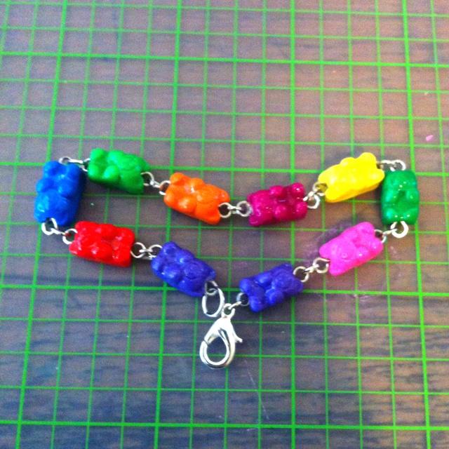 Polymer clay gummy bear bracelet