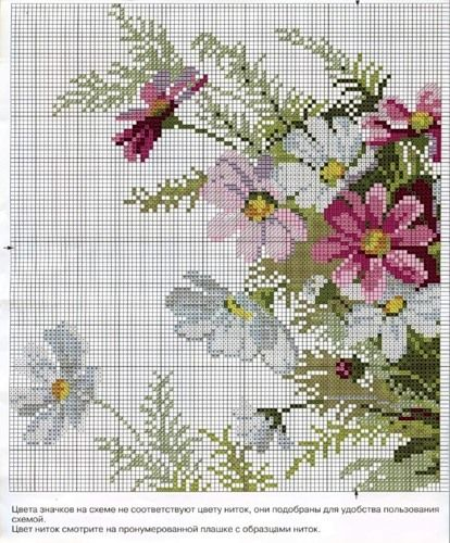 Bouquet of flowers cross stitch pattern. See page 2 for continued pattern and color chart.
