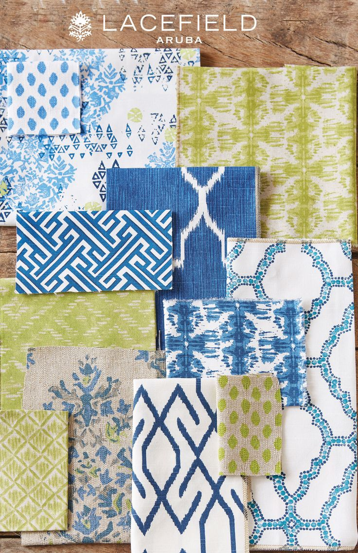 Lacefield Aruba Textile Collection - Blue and Lime Green #textiles #fabric #shibori #ikat