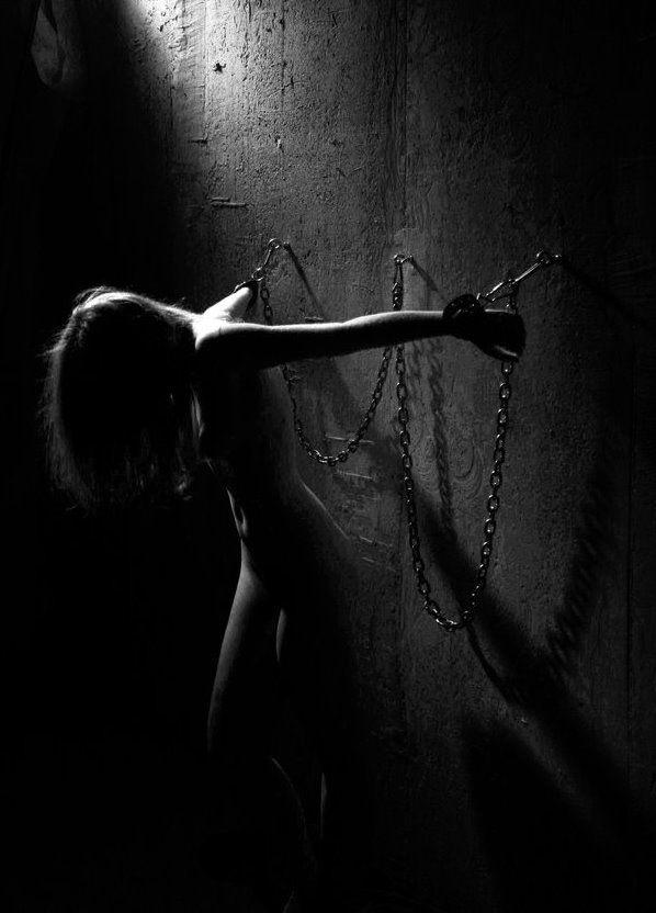 Blindfolded gagged and shackled bdsm brunette gets vibrator held to her clit - 1 part 8